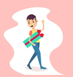 man holding gift box present waving hand merry vector image