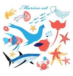 marine set of beautiful fish in the sea vector image