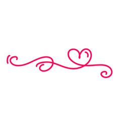 Monoline red vintage valentines day hand vector