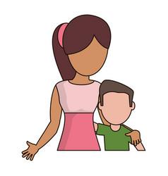 Mother hugging son lovely vector