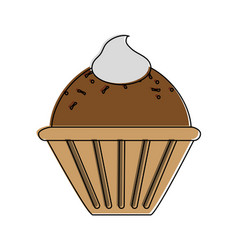 Muffin with whipped cream pastry icon ima vector
