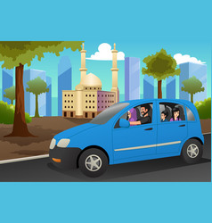 muslim family driving in a car vector image