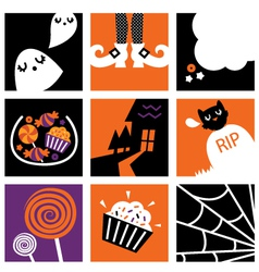 Nine halloween square icons vector image