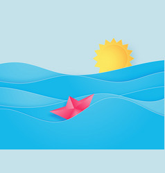 ocean water wave with origami made sailing boat vector image