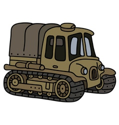 Old sand artillery tractor vector