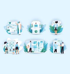 online medicine flat concept doctors and vector image