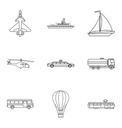 passenger vehicle icons set outline style vector image