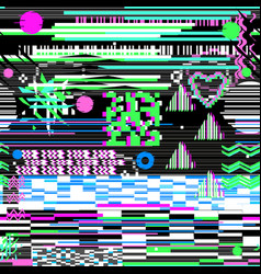 pattern glitch design on a black background card vector image
