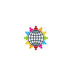 People globe logo icon design vector