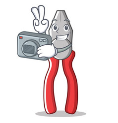 photographer pliers character cartoon style vector image