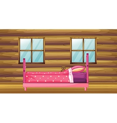 Pink bed in wooden room vector image