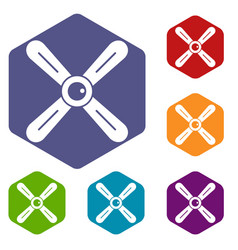 Propeller icons set hexagon vector