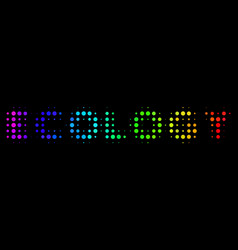 rainbow colored pixel ecology text icon vector image