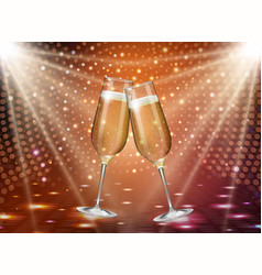 Realistic of champagne glasses on gold background vector