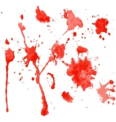 Red watercolor blots on a white background vector