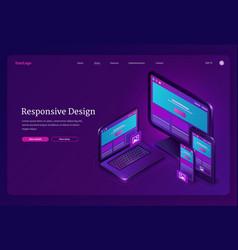 responsive design isometric landing user interface vector image