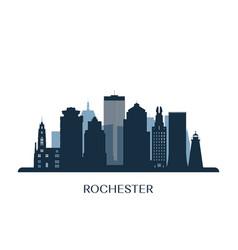 rochester skyline monochrome silhouette vector image
