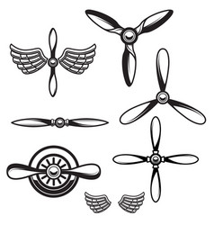 set airplane propellers design element vector image