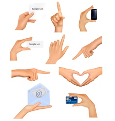 Set hands holding different business objects vector