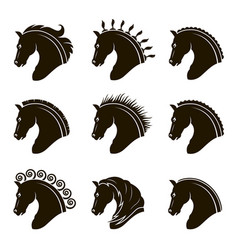 set horse heads vector image