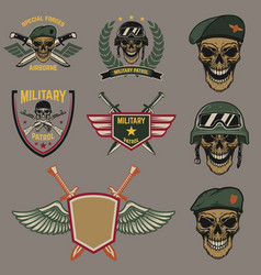 set military emblems paratrooper skull vector image
