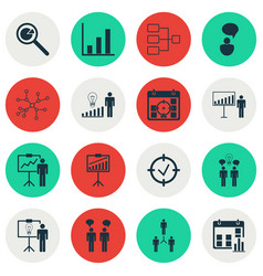Set of 16 authority icons includes project vector
