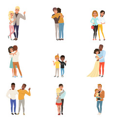 set of hugging people in different poses sisters vector image