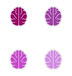 Set of paper stickers on white background human vector