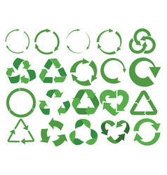 set recycling signs with arrows collection of vector image