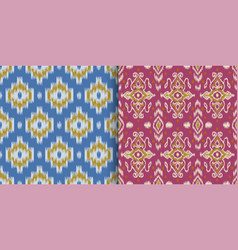 set seamless patterns with embroidery ethnic vector image