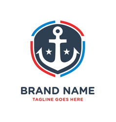 ship anchor shield logo design vector image