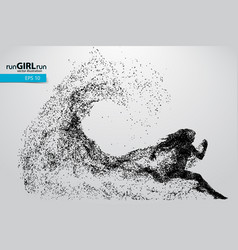 Silhouette of a running woman from particles vector