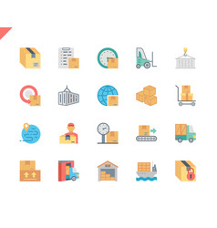 simple set package delivery flat icons for website vector image