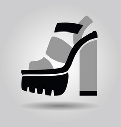 single women platform solid high heel shoe icon vector image
