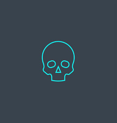 skull concept blue line icon simple thin element vector image