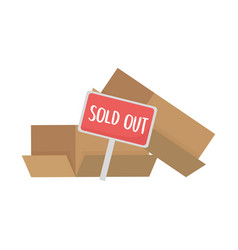 Sold out banner and boxes design vector