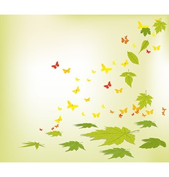 Spring faling leaves and butterflies background vector