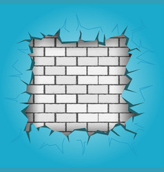 Square hole in blue wall vector
