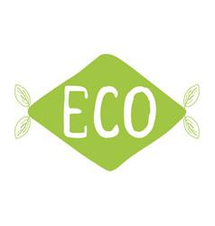 Typographic phrase eco on green rhombus vector