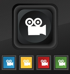 video camera icon symbol Set of five colorful vector image