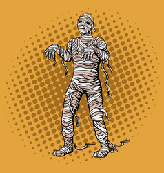 Walking mummy pop art style vector