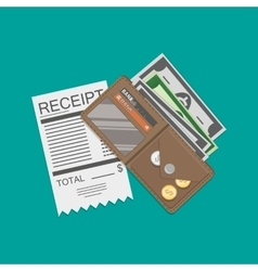 Wallet with money and receipt vector