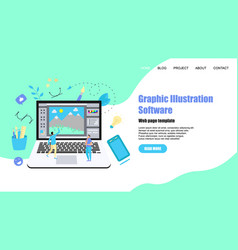 Webpage template flat graphic drawing concept vector