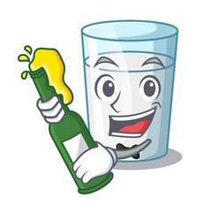 with beer cartoon sweet milk glass for breakfast vector image