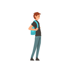 young smiling man standing with backpack vector image