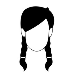 young woman faceless cartoon in black and white vector image