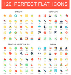 120 modern flat icon set of bakery seafood vector image