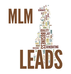 mlm leads text background word cloud concept vector image