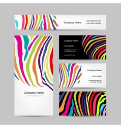Of business cards colorful zebra print design vector image set of business cards colorful zebra print design vector image reheart Gallery