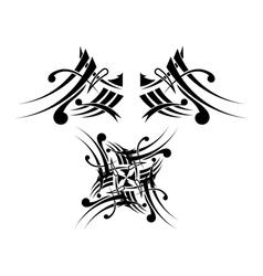 Black-white Tribal Tattoo Design vector image